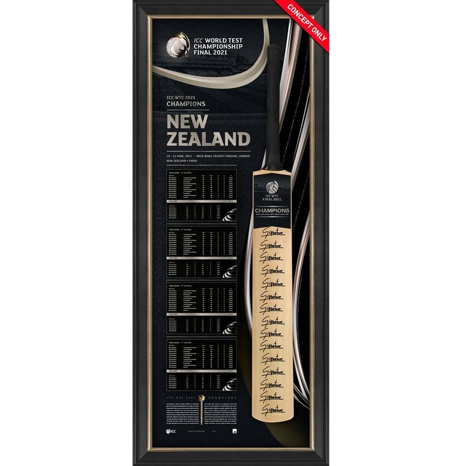 mainNew Zealand ICC World Test Champions Squad Signed Bat Display0