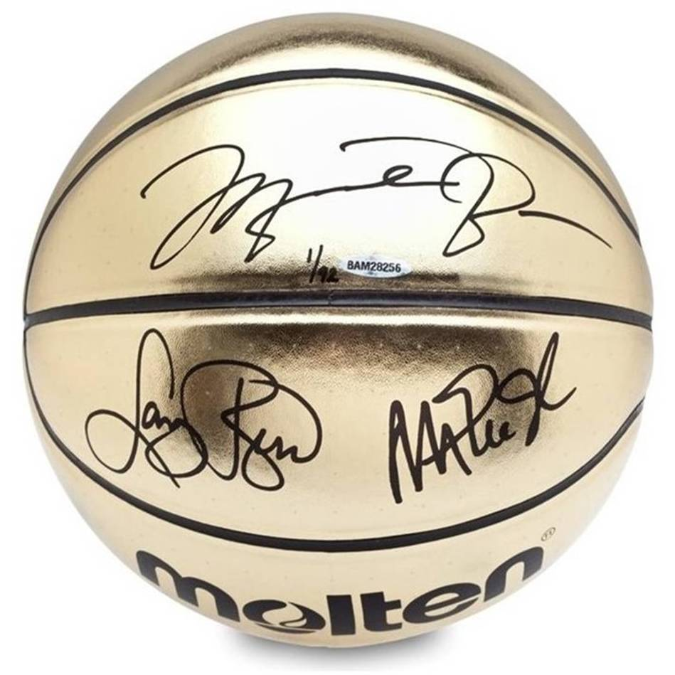 mainMichael Jordan, Magic Johnson, Larry Bird Signed Basketball0
