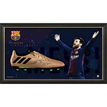 Lionel Messi Signed Boot Display