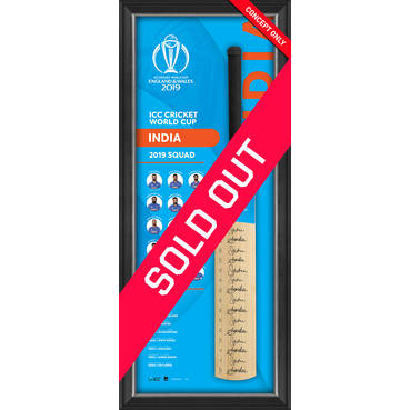 India CWC 2019 Squad Signed Bat Display