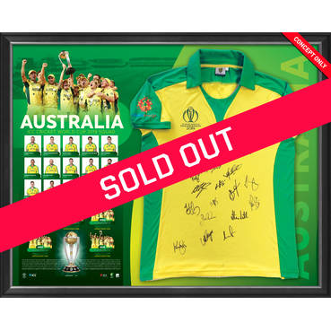 Australia CWC 2019 Squad Signed Shirt Display