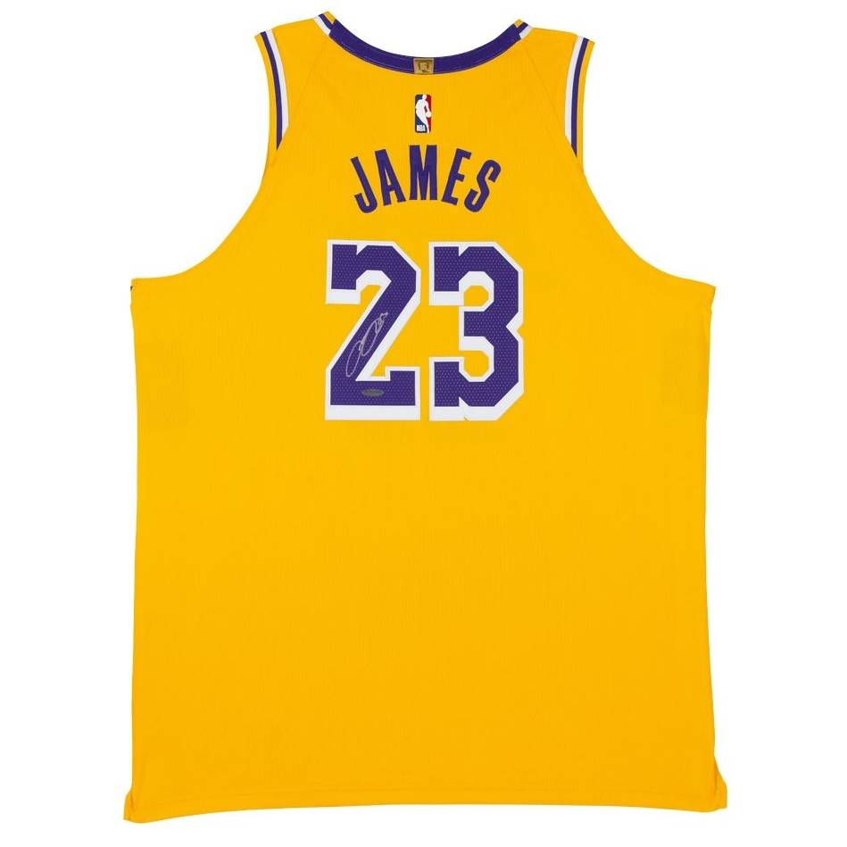 mainLeBron James Signed Los Angeles Lakers Gold Jersey0