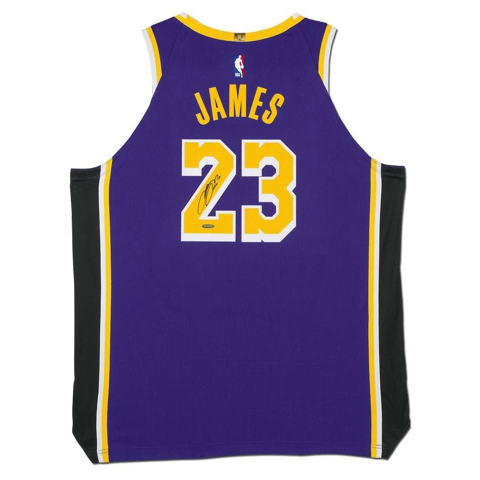 mainLeBron James Signed Los Angeles Lakers Purple Jersey0